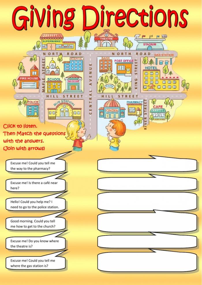 Giving Directions Listening Worksheet