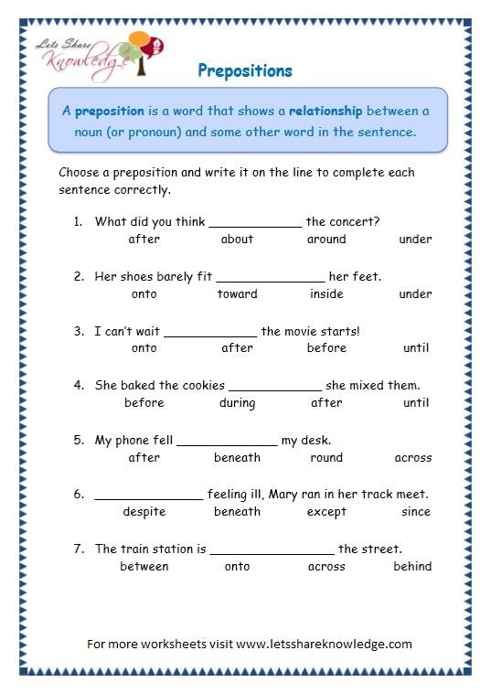 Grade Grammar Topic Prepositions Worksheets Lets Share
