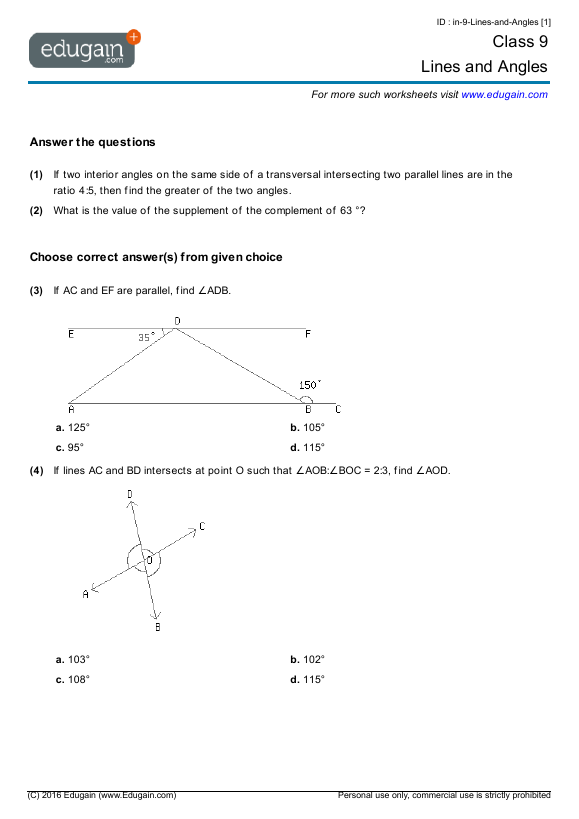 Grade Math Worksheets And Problems Lines And Angles