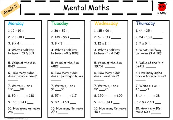 Grade Mental Math Worksheets