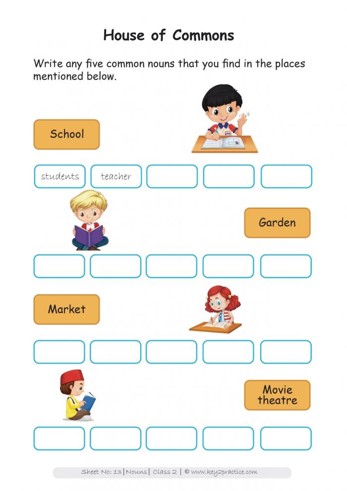 Grade Nouns Worksheets I English