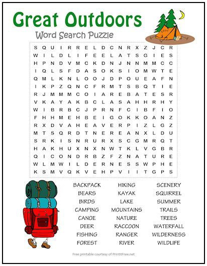 Great Outdoors Word Search Puzzle