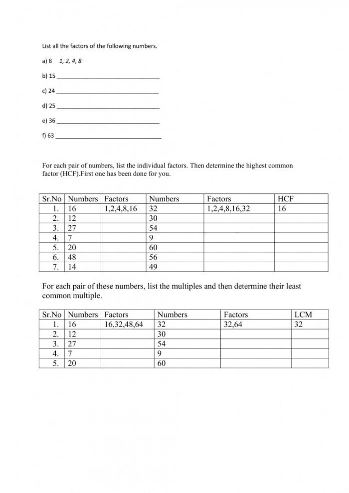 Hcf And Lcm Worksheet