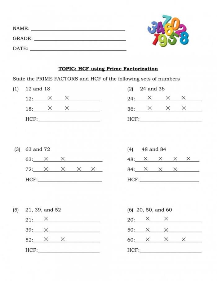 Hcf Using Prime Factorization Interactive Worksheet