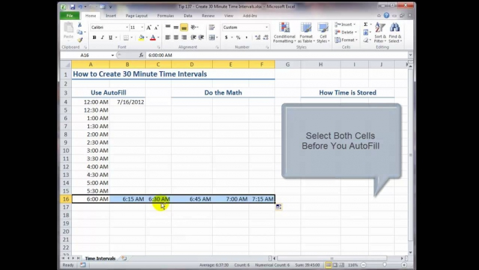 How To Create Minute Time Intervals In Excel