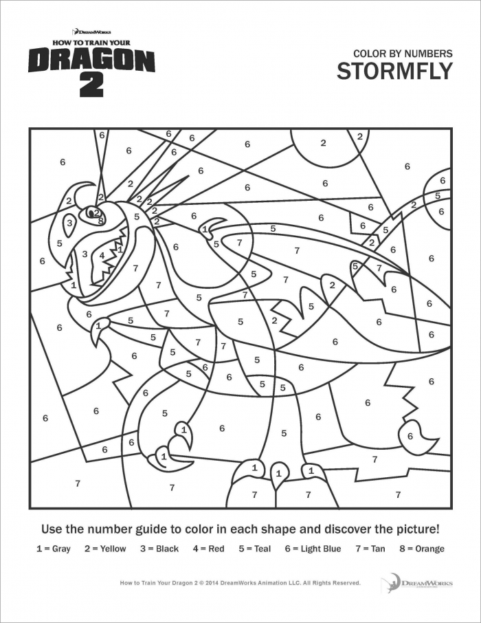 How To Train Your Dragon Stormfly Color By Number Coloring Page