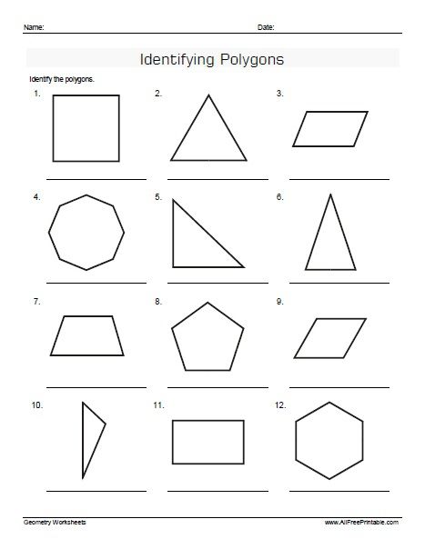 Identifying Polygons Worksheets