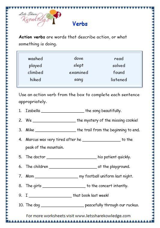 Image Result For Worksheets Of Verbs For Grade