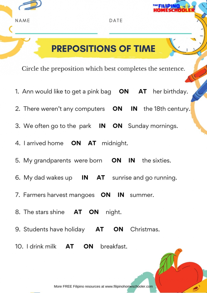 In On At Prepositions Of Time Worksheet The Filipino Homeschooler