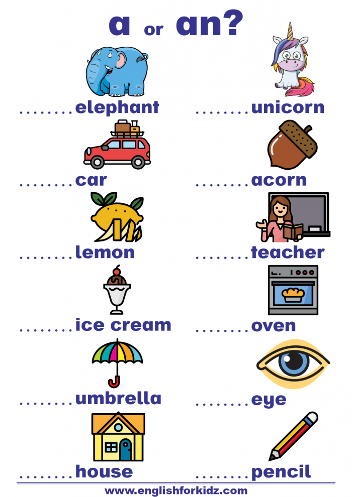 Indefinite Articles Worksheets A Or An
