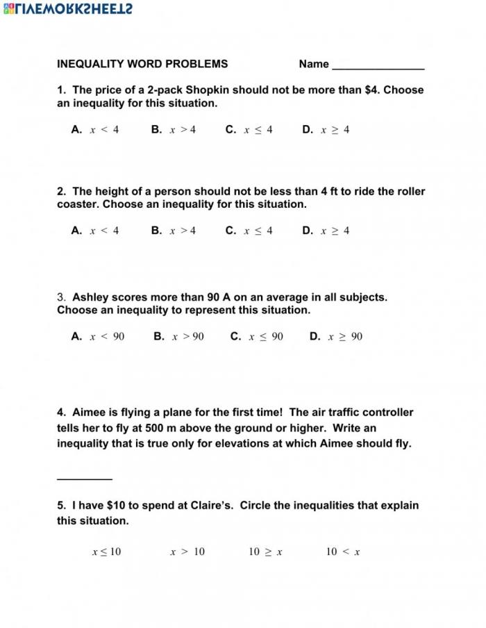 Inequality Word Problems Worksheet
