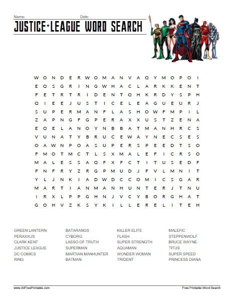 Justice League Word Search