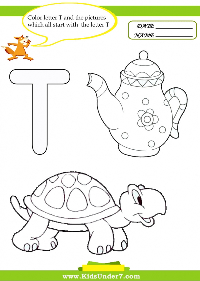 Kids Under Letter T Worksheets And Coloring Pages