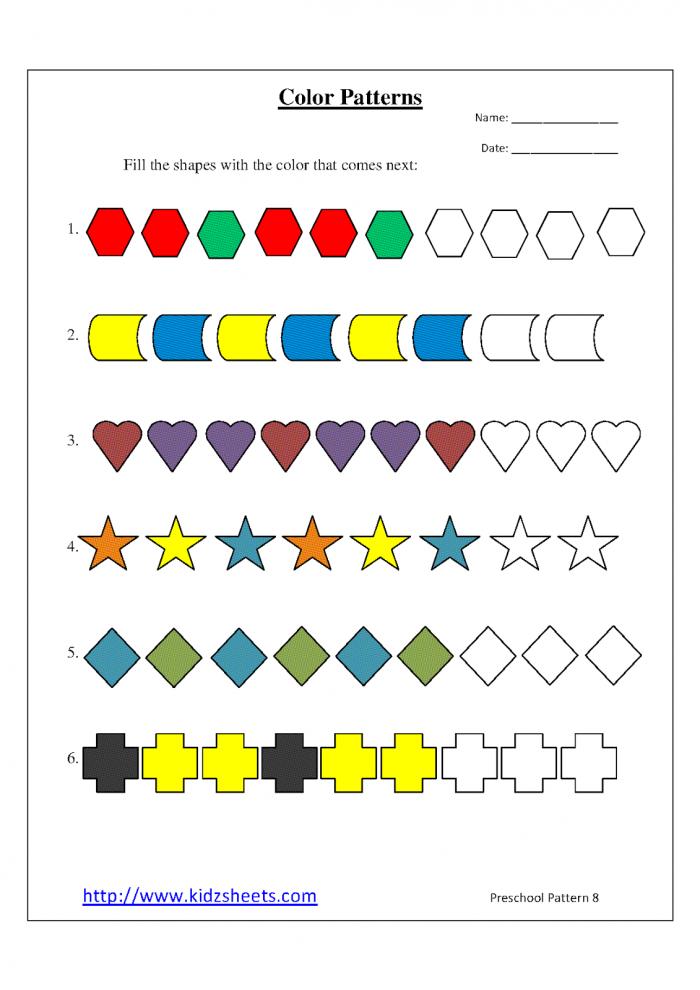 Kidz Worksheets Preschool Color Patterns Worksheet