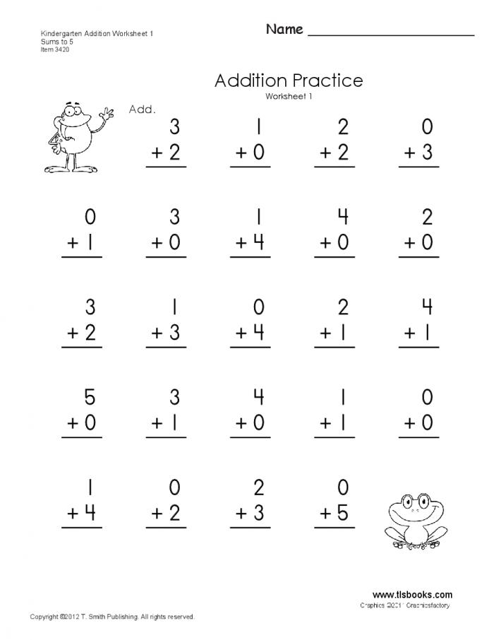 Kindergarten Addition Worksheets Through