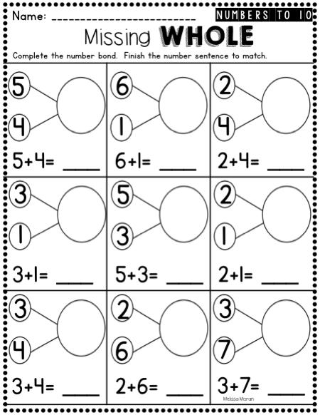 Kindergarten Number Bonds Worksheets To And Google Slides