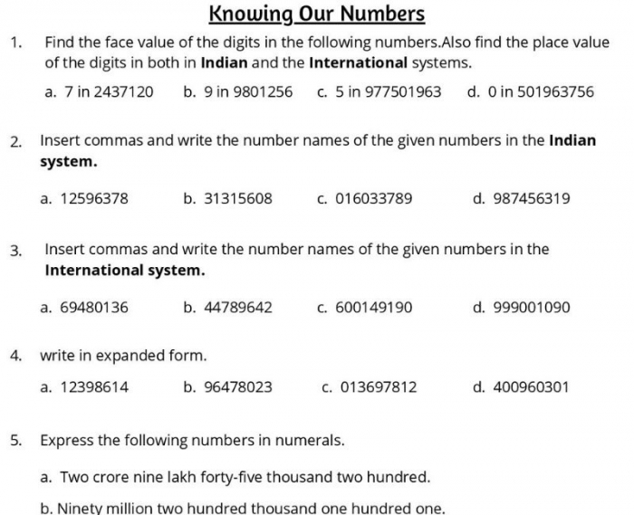 Knowing Our Numbers Class Worksheet