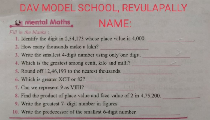 Knowing Our Numbers Worksheet