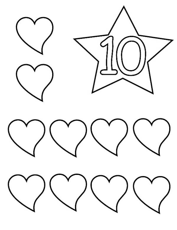Learn Number With Ten Hearts Coloring Page Bulk Color