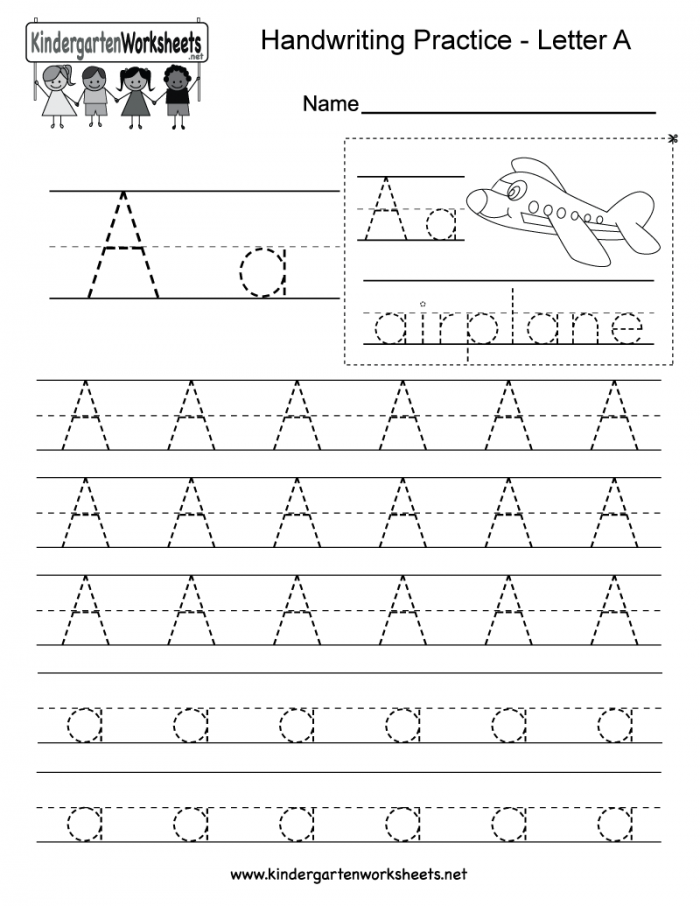 Letter A Writing Practice Worksheet