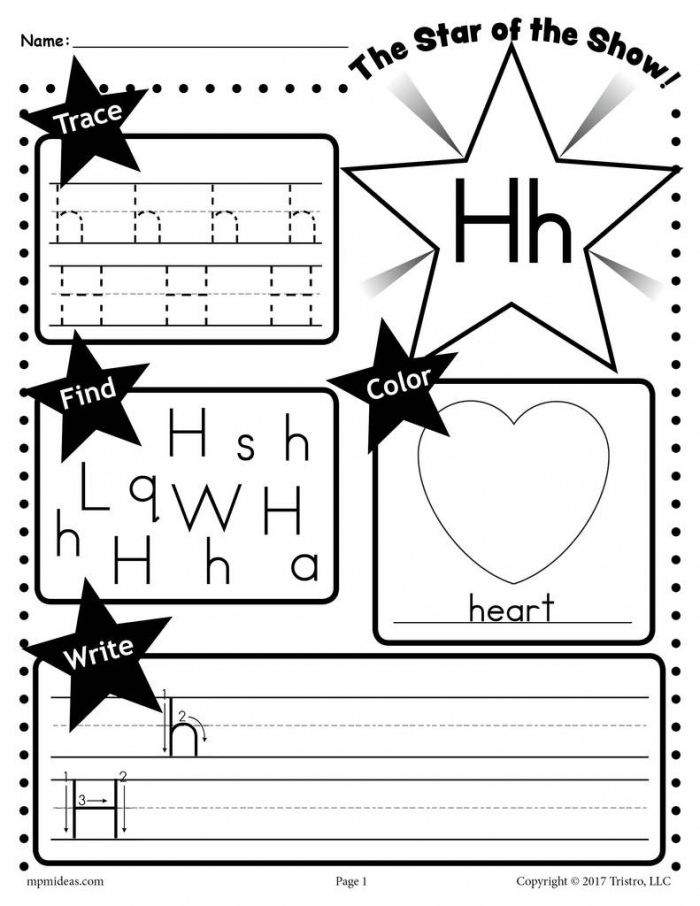 Letter H Worksheet Tracing Coloring Writing More Supplyme