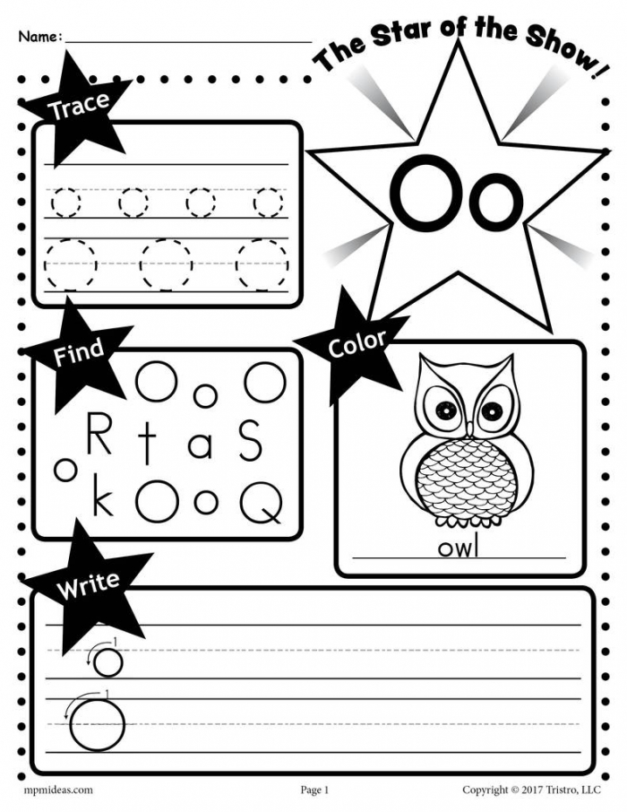 Letter O Worksheet Tracing Coloring Writing More Supplyme