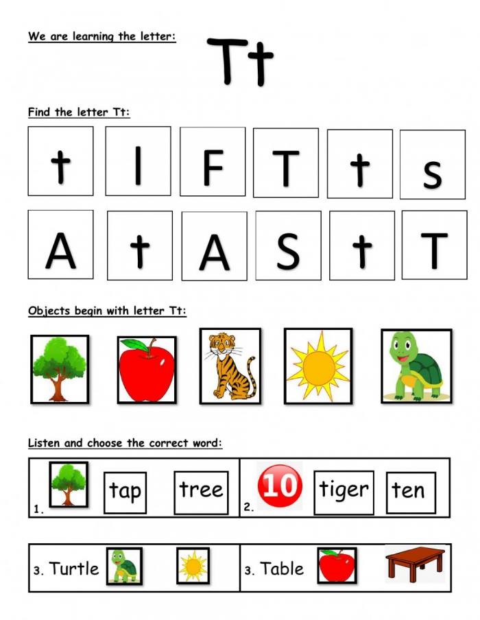 Letter T Online Exercise