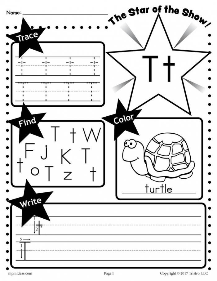 Letter T Worksheet Tracing Coloring Writing More Supplyme