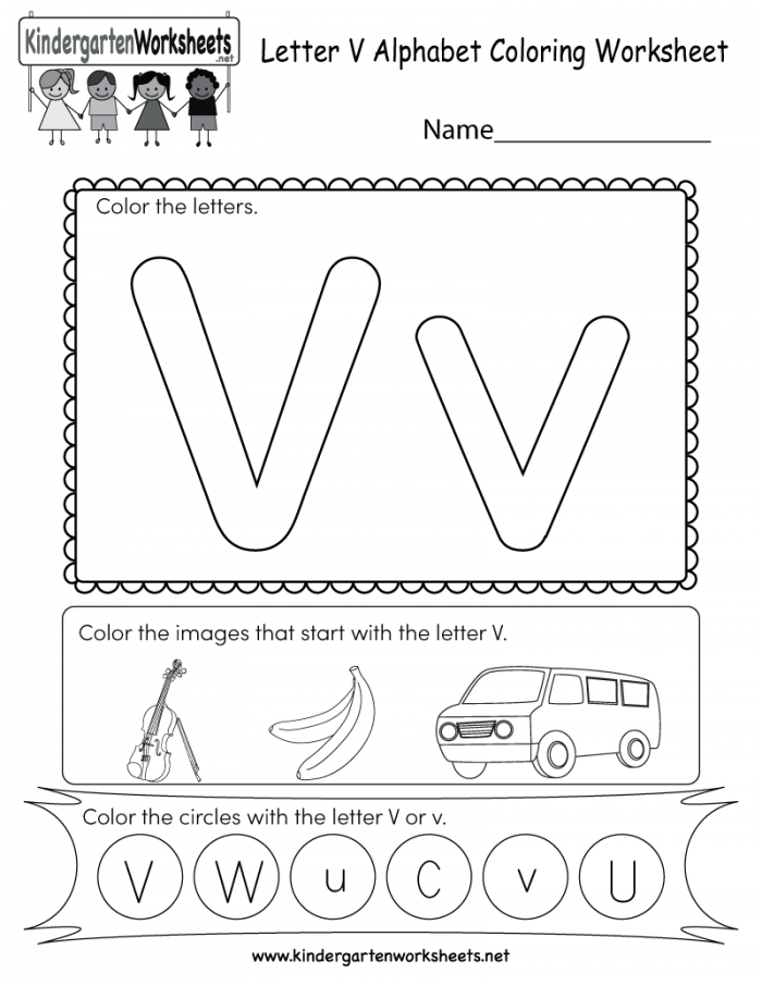 Letter V Coloring Worksheet