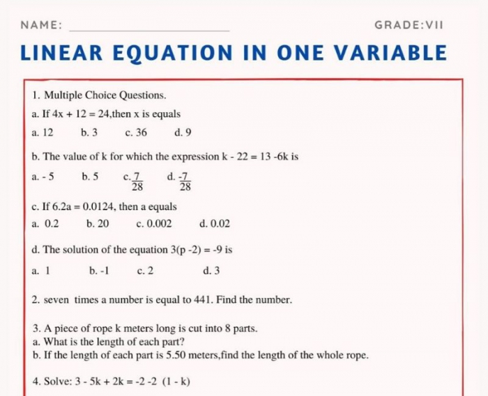 Linear Equation In One Variable For Class