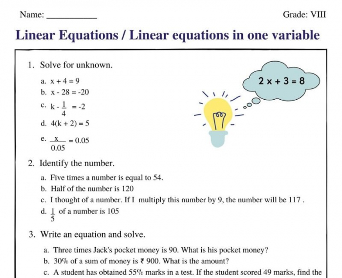 Linear Equations In One Variable Class Worksheets