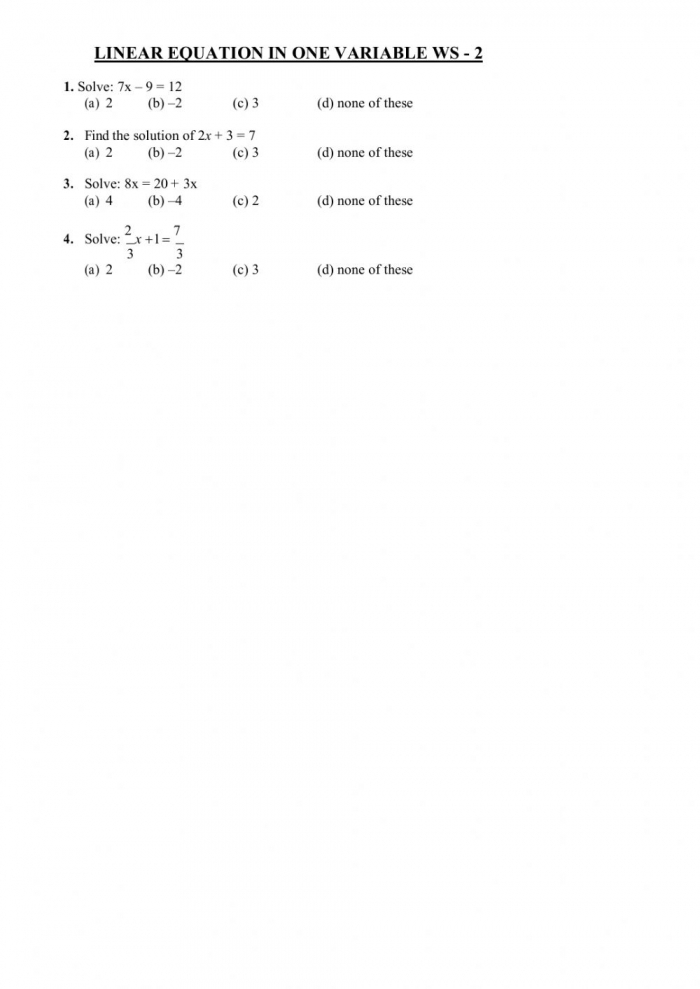 Linear Equations In One Variable Interactive Worksheet