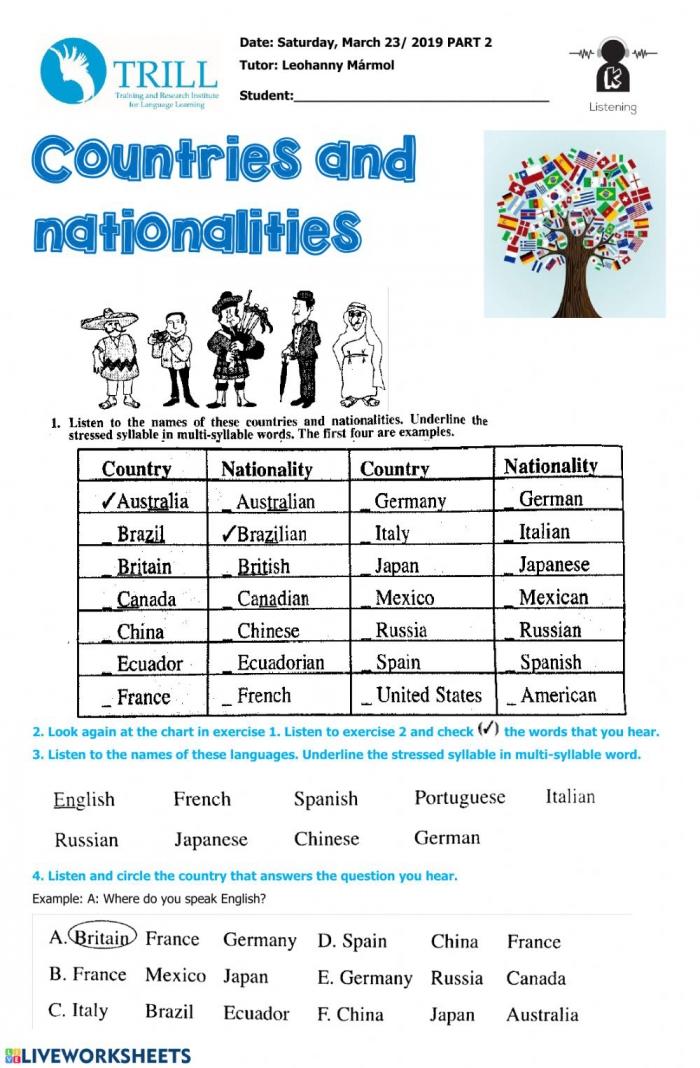 Listening Countries Nationalities Worksheet
