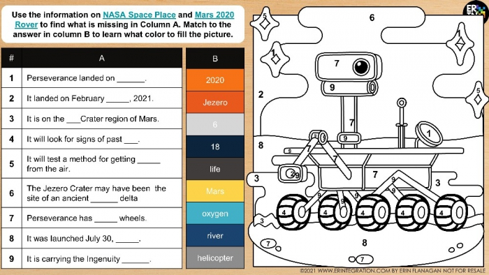 Mars Perseverance Rover Digital Color By Number More Free