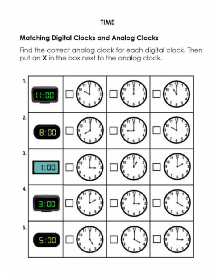 Match Digital And Analog Clocks Worksheet