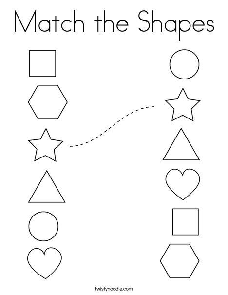 Match The Shapes Coloring Page