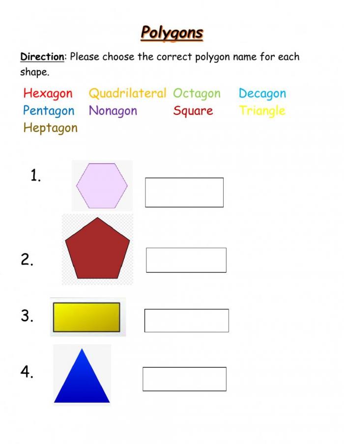 Matching Polygons Worksheet
