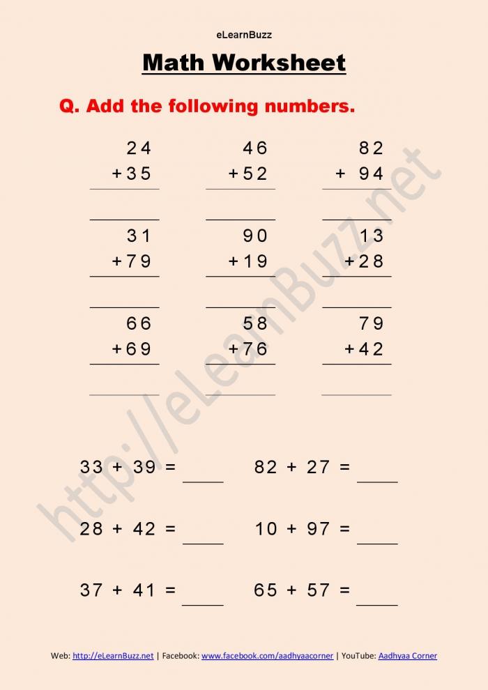 Math Worksheet For Class