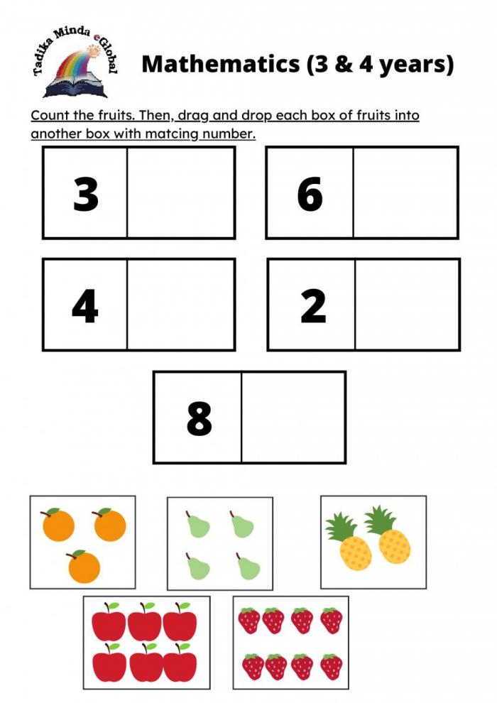 Mathematics Years Old Fruits Worksheet