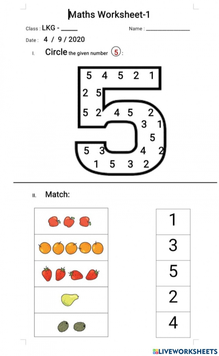 Maths Online Exercise For Lkg