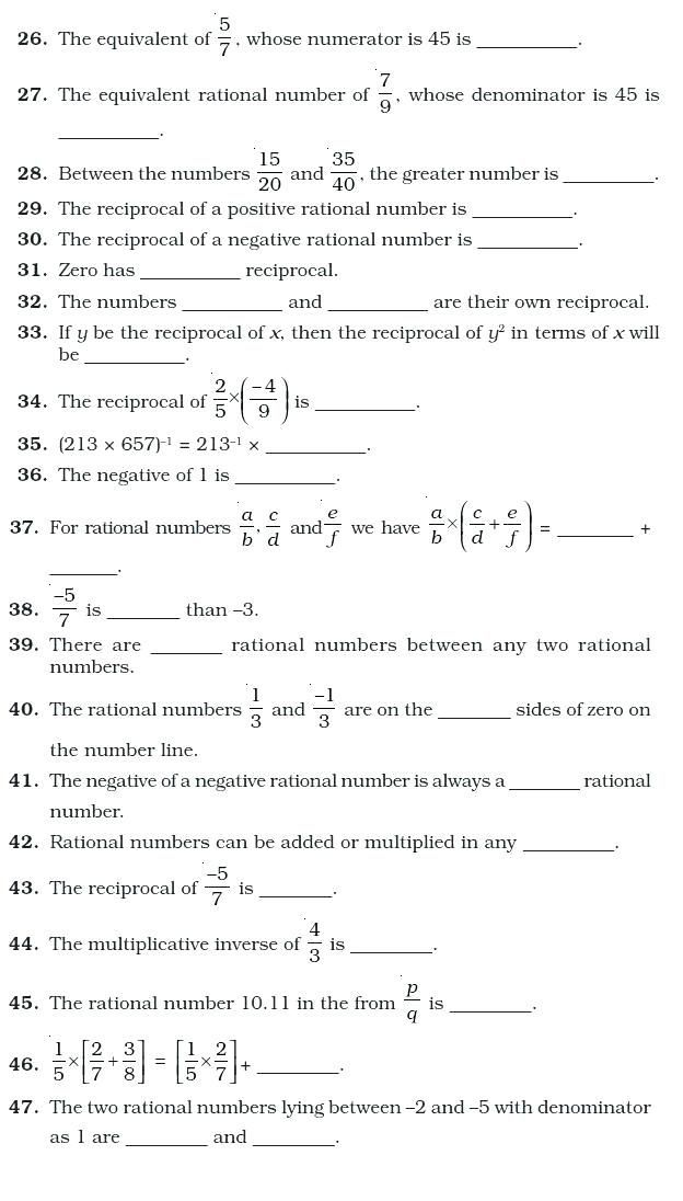 Maths Worksheets For Class Rational Numbers Top Punto