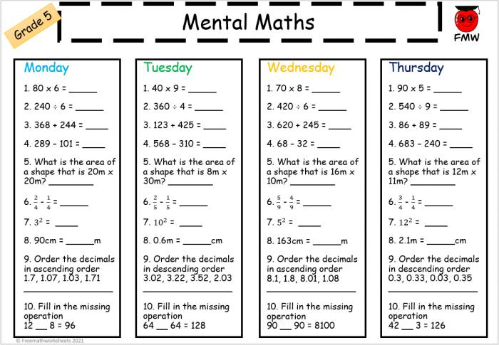 Mental Math Worksheets For Grade