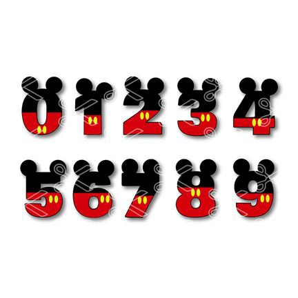 Mickey Mouse Numbers Svg Dxf Cut Files