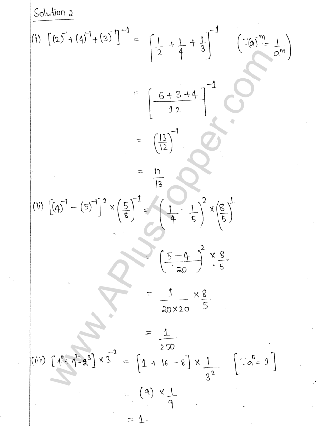 Ml Aggarwal Icse Solutions For Class Maths Chapter Exponents