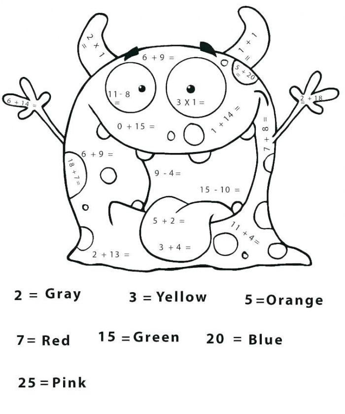 Monster For Coloring By Numbers Coloring Page