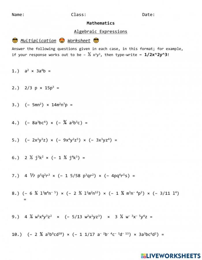 Multiplication In Algebraic Expressions Worksheet