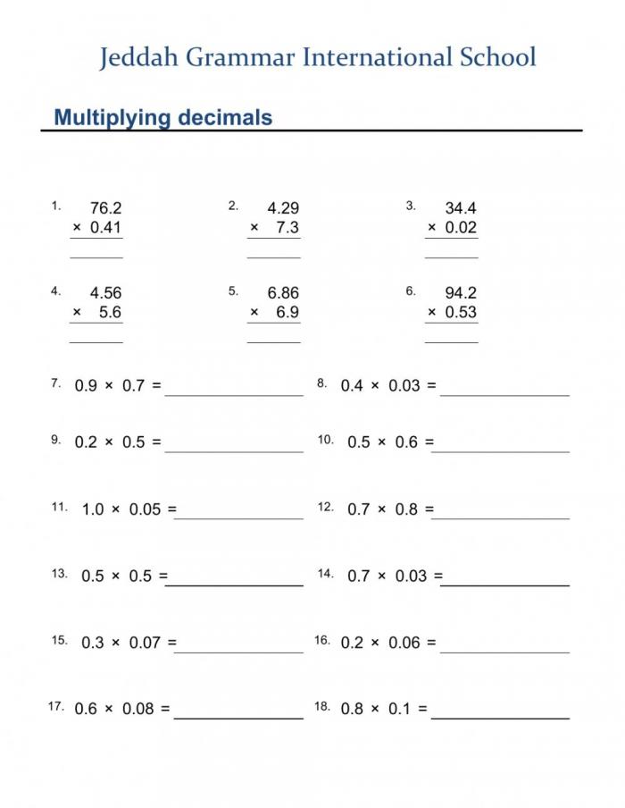 Multiplying Decimals Exercise