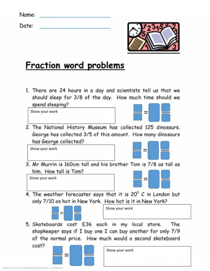 Multiplying Fractions Word Problems Worksheet