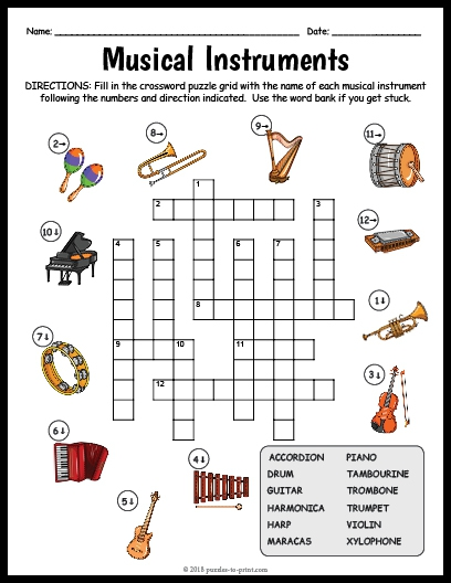 Musical Instruments Crossword