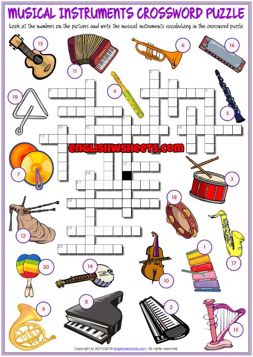 Musical Instruments Esl Crossword Puzzle Worksheet For Kids